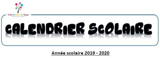 Calendrier Scolaire 2019/2020